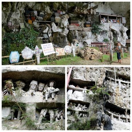 Volgens eeuwenoude traditie, nu nog zelden, worden doden begraven in kalksteenrotsen. Een Tao Tao-,  het houten evenbeeld van de overledene, bewaakt het graf.